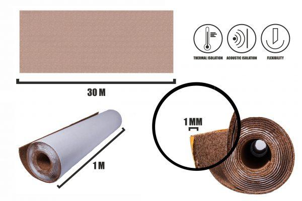 Zelfklevende kurkrol 1mm (30m)