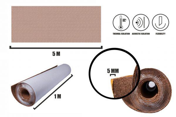 Zelfklevende kurkrol 5mm (5m)